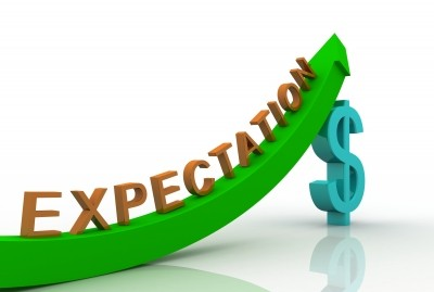 3D Render Business Graph with expectation word on the graph and dollar sign below