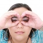 Woman Looking Imaginary Binocular