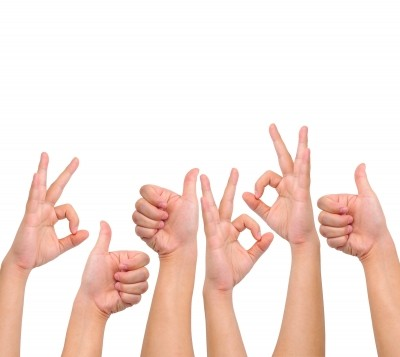 Positive Hand Sign with white background