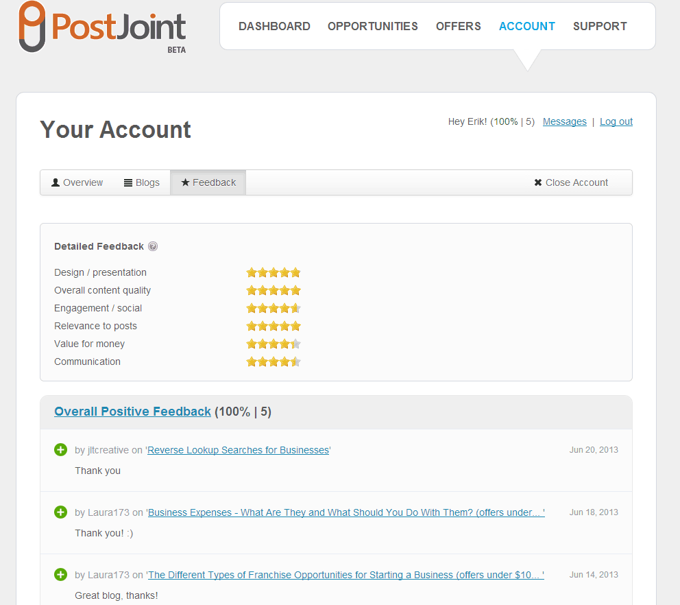 PostJoint Account screenshot - feedback section