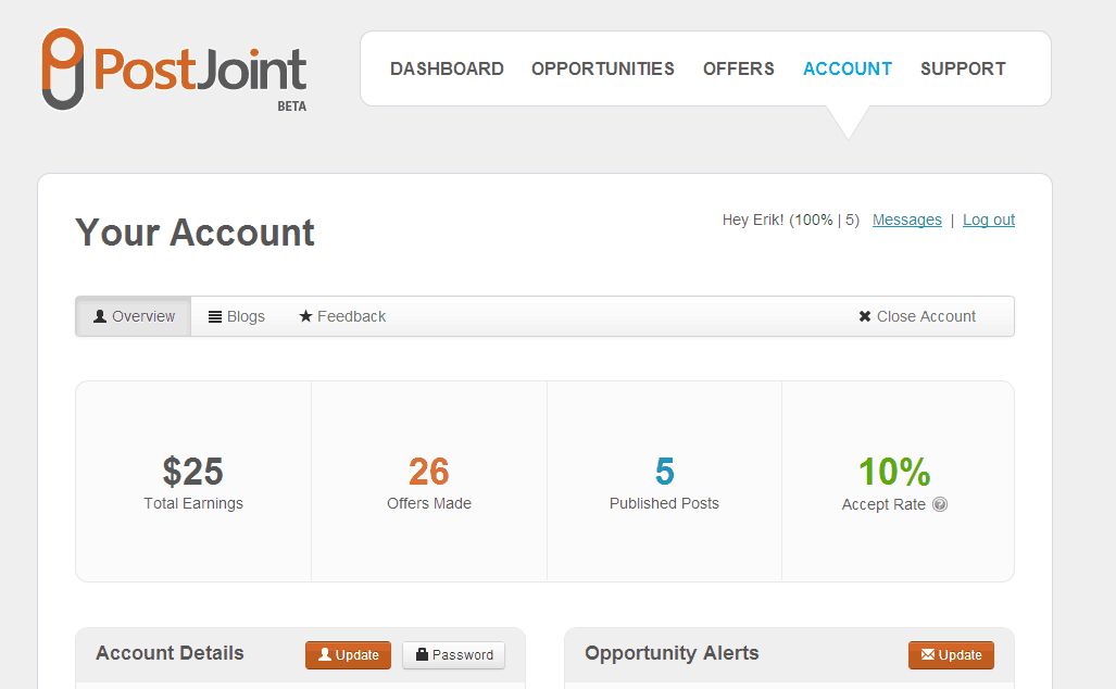 PostJoint Account screenshot - overview section