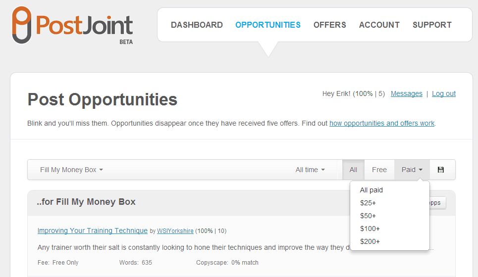 PostJoint Opportunities screenshot