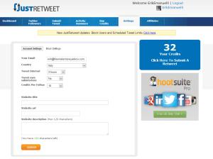 JustRetweet settings screenshot