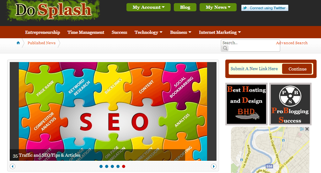 DoSplash homepage screenshot.