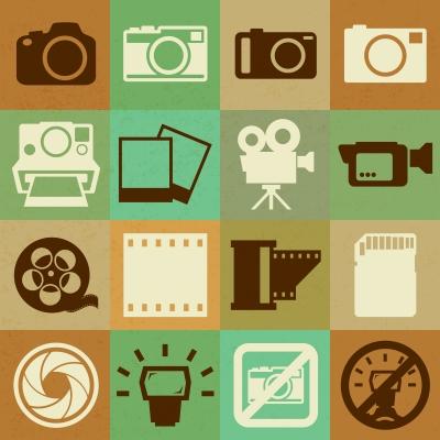 Camera And Video Retro Icons Set