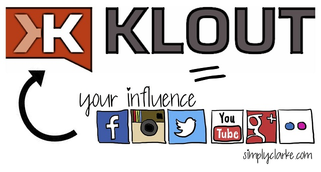 Klout logo with social media buttons