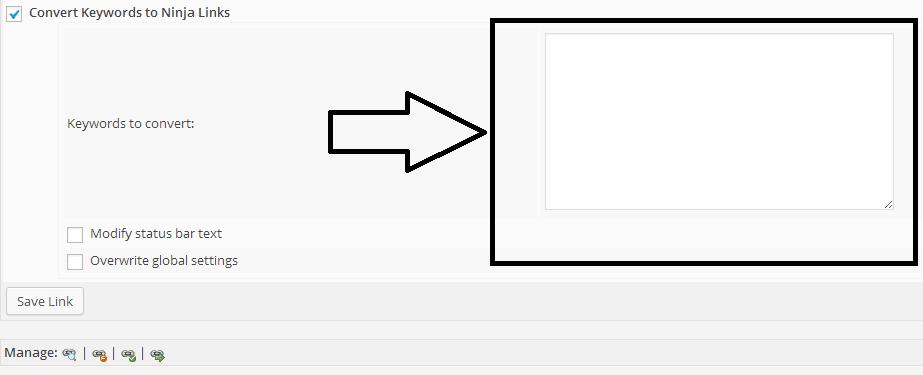MBP ninja affiliate plugin screenshot - add keywords to your links