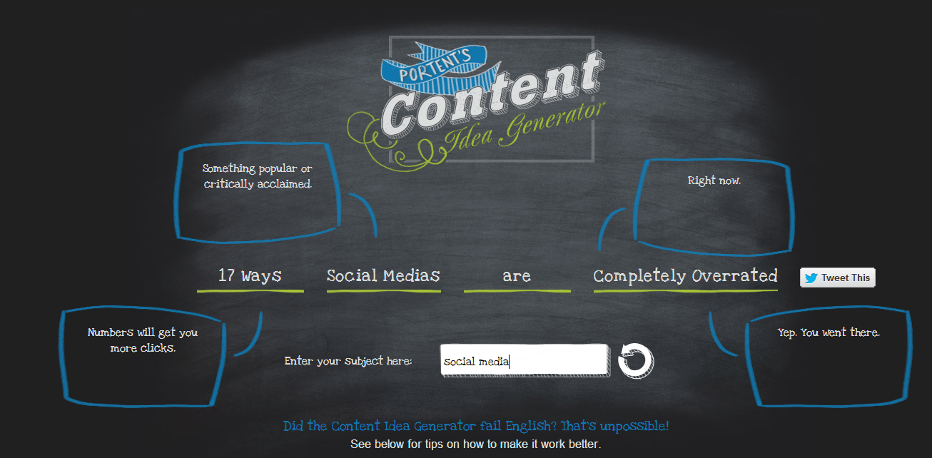 Content Idea Generator screenshot
