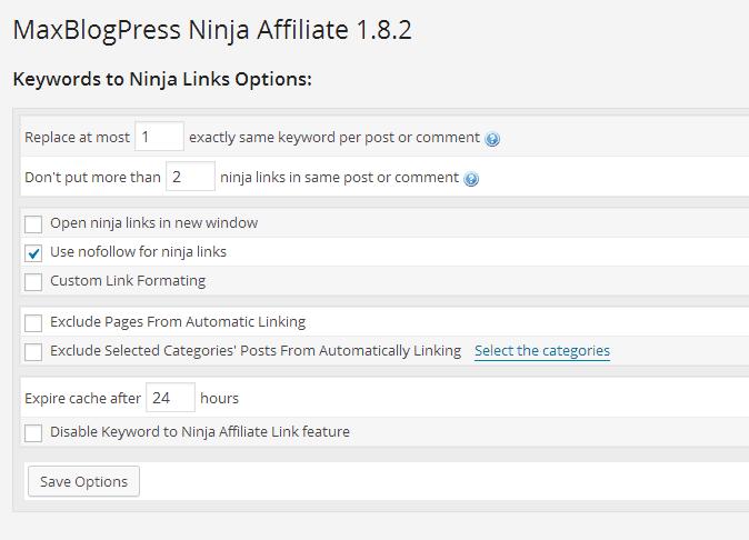 MBP affiliate plugin settings screenshot