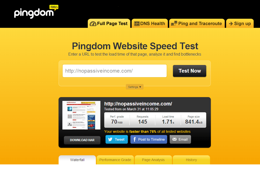 Pingdom test screenshot