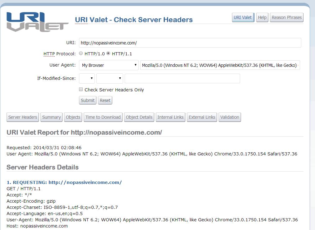 URI valet screenshot
