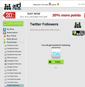 AddMeFast homepage screenshot