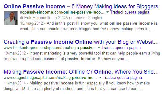 -Online Passive Income- keywords search results - screenshot
