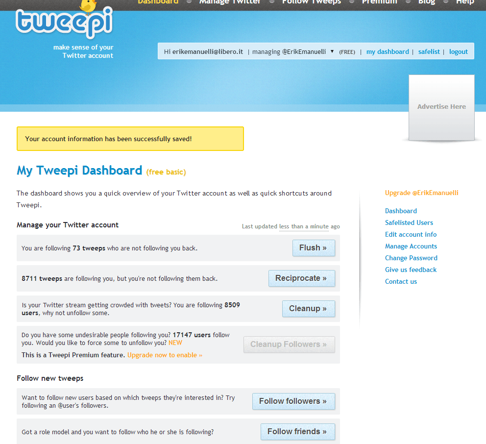 Tweepi homepage screenshot for Erik Emanuelli's Twitter account