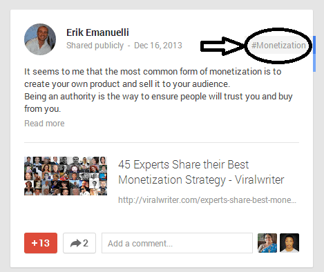 screenshot of a post on Erik Emanuelli Google+ profile
