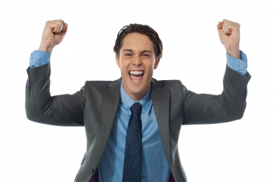 A business man cheers for success