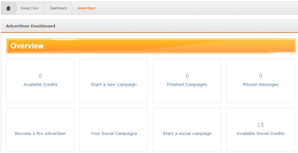 Advertiser Dashboard on Guest Crew screenshot