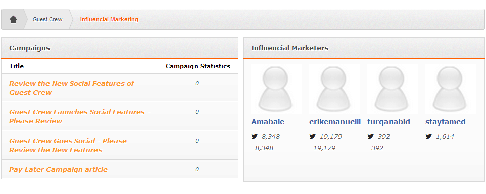 Top Social Influencial Marketers - Guest Crew screenshot