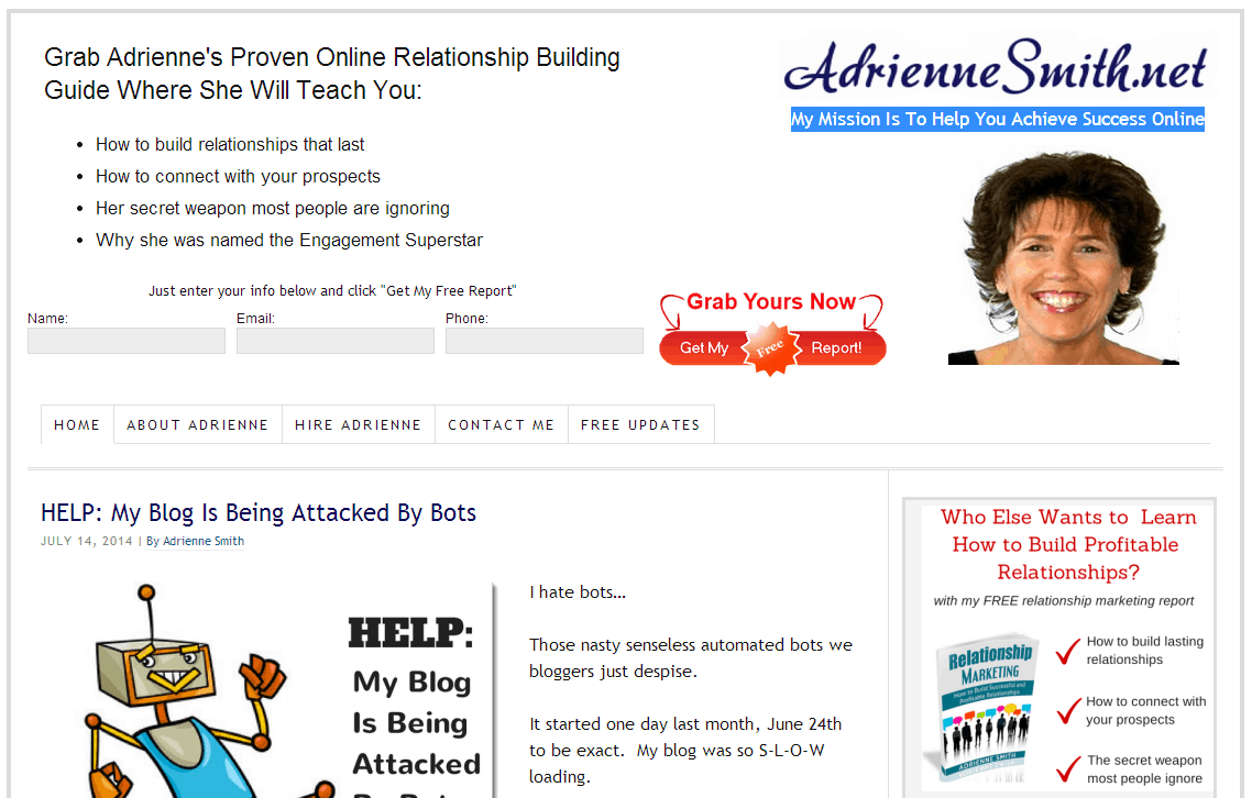 AdrienneSmith homepage screenshot - July 15th 2014.