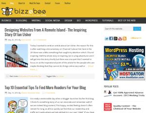 BizzeBee blog homepage screenshot - July 15th 2014