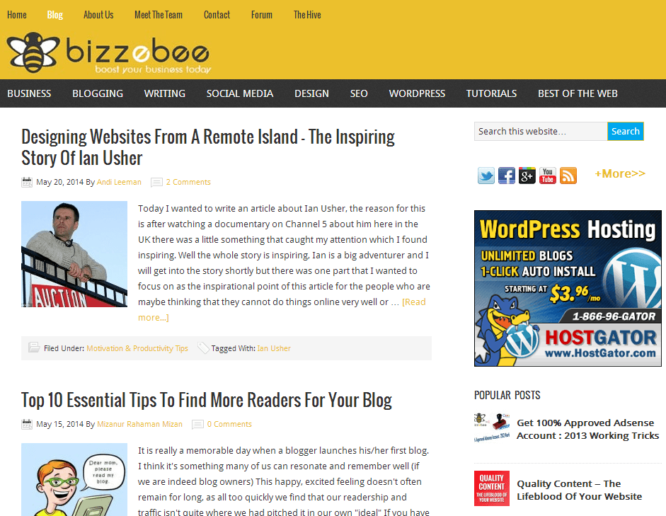 BizzeBee blog homepage screenshot - July 15th 2014