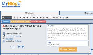 Brainstorm request screenshot from Ann Smarty on MyBlogU
