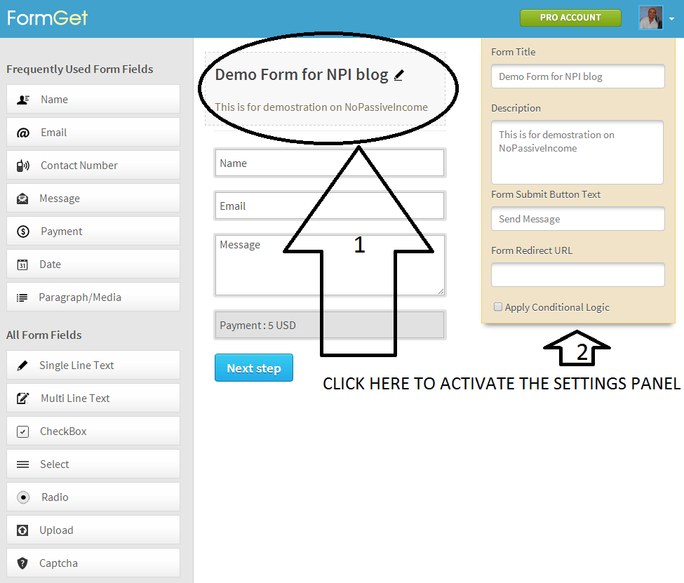 Demo Form screenshot on FormGet