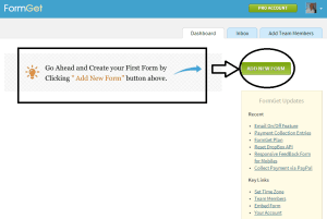 FormGet dashboard screenshot
