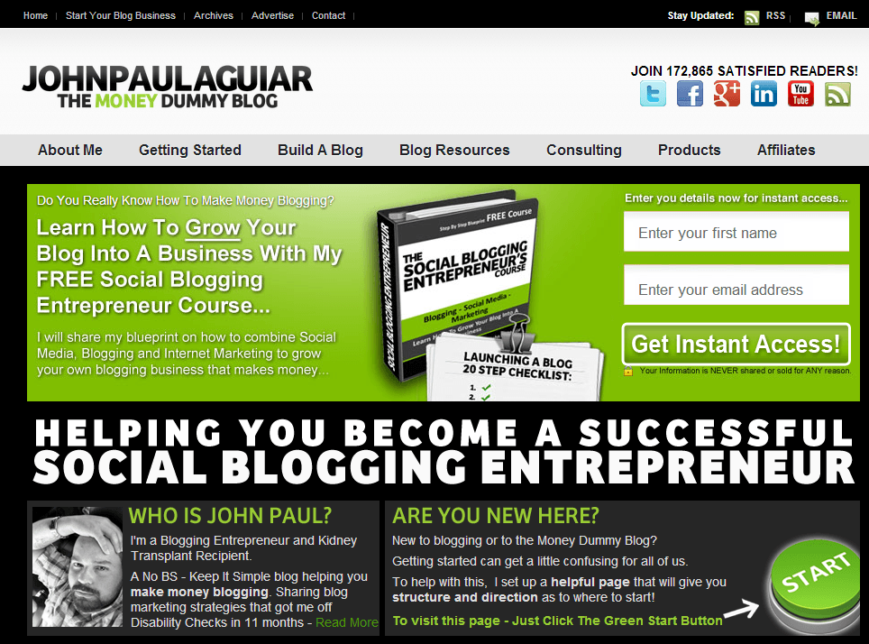 John Paul Aguiar homepage screenshot - July 15th 2014