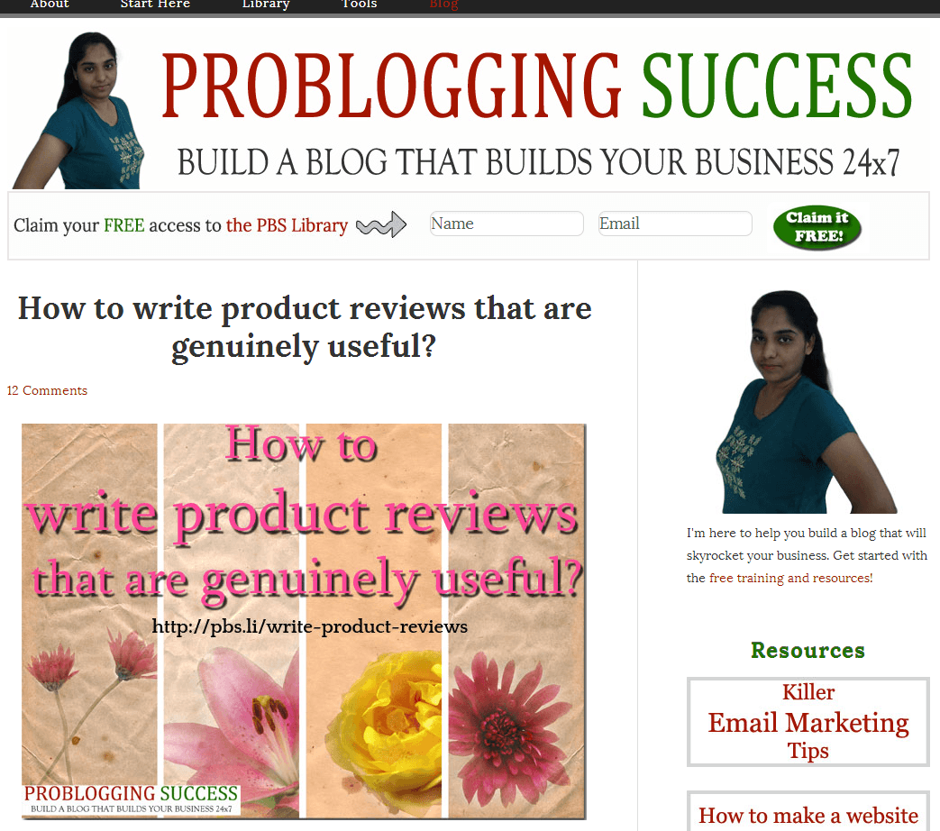 ProBloggingSuccess blog homepage screenshot - July 15th 2014