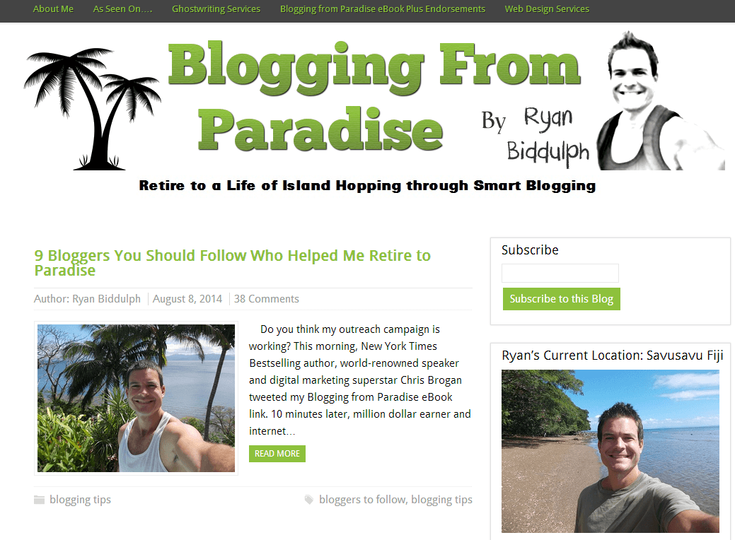 Blogging From Paradise homepage screenshot