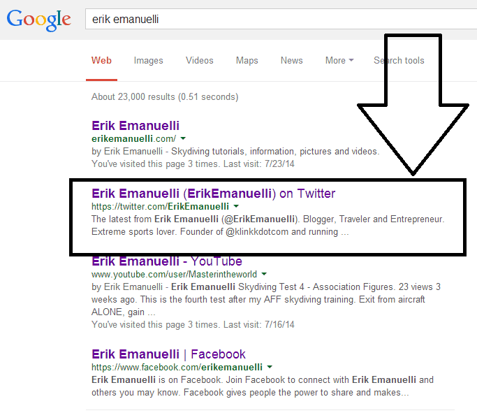 """Erik Emanuelli"" words search screnshoot on Google"