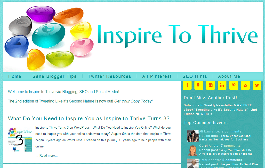 Inspire to Thrive homepage screenshot