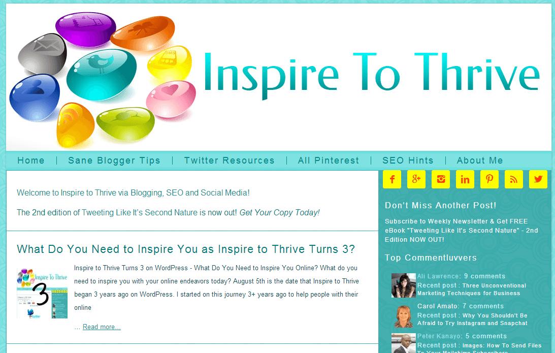 Inspire to Thrive homepage screenshot