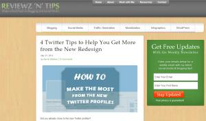 Reviewz'n'Tips homepage screenshot