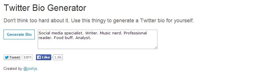 Twitter Bio Generator screenshot