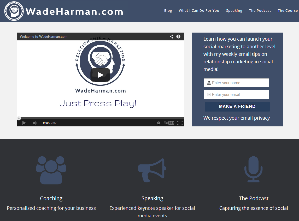 Wade Harman homepage screenshot