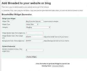 Add BroadedNet widget to your blog
