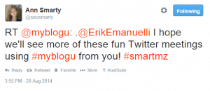 Ann Smarty tweet about the Twitter Chat #smartmz