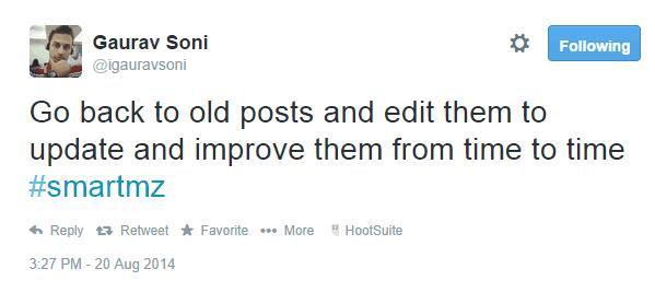 Gaurav Soni tweet about improving your blog traffic