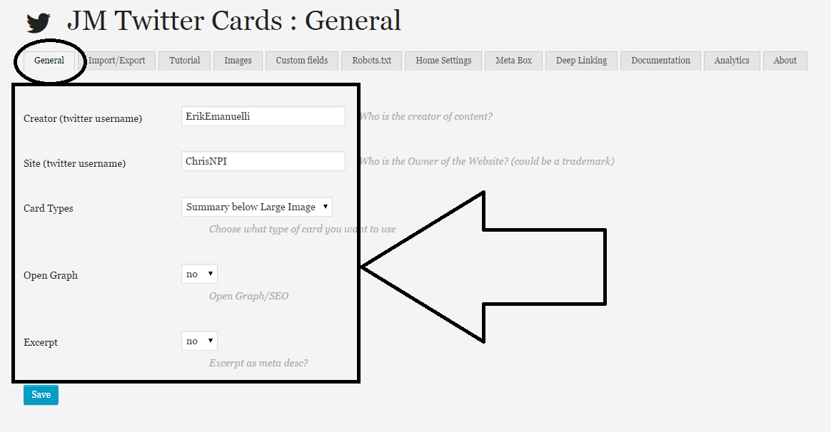 General settings screenshot for JM Twitter Cards WordPress plugin