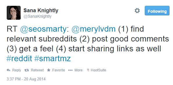 Sana Knightly tweet about getting traffic from Reddit
