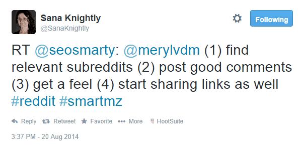 Sana Knightly tweet about getting traffic from Reddit