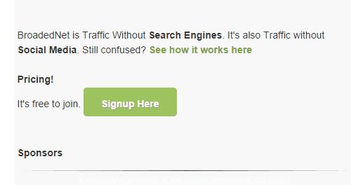 Sign up form at BroadedNet homepage