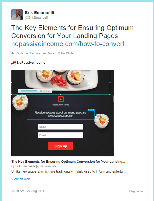 Erik Emanuelli's latest post shared on Twitter showing Twitter card implementation