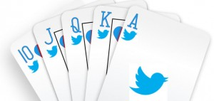 Cards with Twitter logo on them