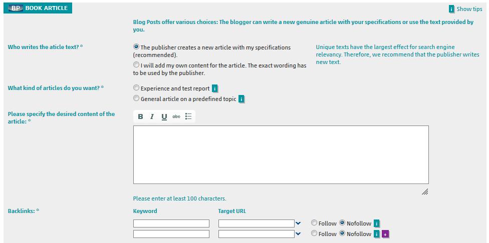 Screenshot of Blog Post booking at SeedingUp