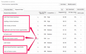 """Screenshot of Google Keyword planner search of """"home business opportunities"""" keywords"""