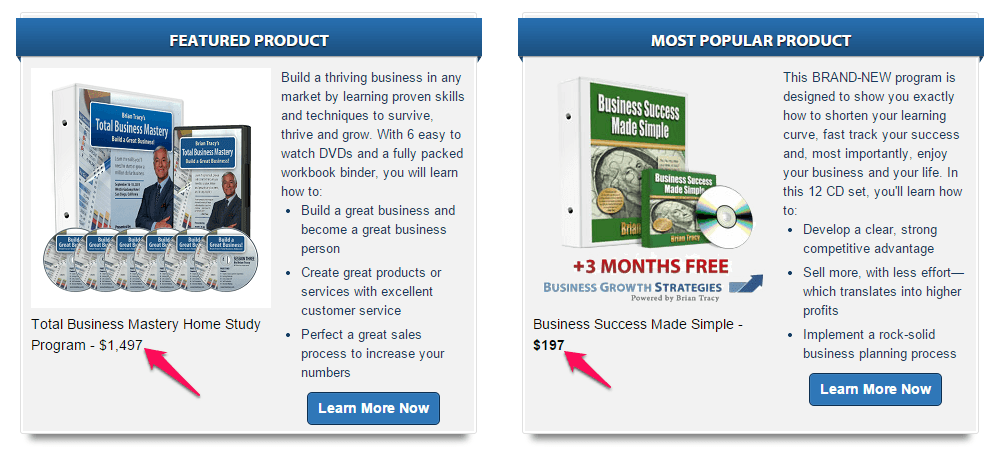screenshot of featured - most popular affiliate products