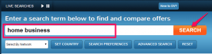 screenshot of searching home business within offervault.com